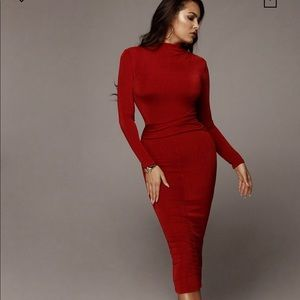 Red Ruched Overlay Dress